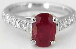 2.04 ctw Burmese Ruby and Diamond Ring in 14k white gold