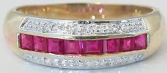 Square Cut Ruby Band Ring in 14k yellow gold