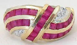 Ruby Swirl Channel Ring in 14k yellow gold