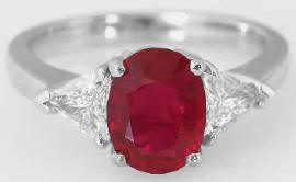 2.53 ctw Burmese Ruby and Trillion Diamond Ring in 18k white gold