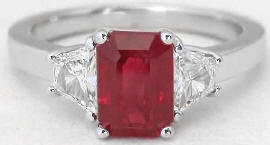 2.46 ctw Burmese Ruby and Trapezoid Diamond Ring in 18k white gold