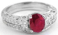 Antique Ruby Engagement Ring and Wedding Band in 14k White Gold