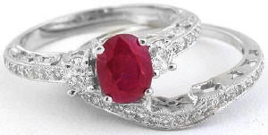 Burmese Ruby and Diamond Engagemet Ring and Band in 14k white gold