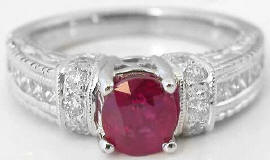 1.62 ctw Burmese Ruby and Oval Diamond Ring  in 14k white gold