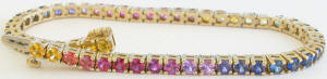 Bright Rainbow Sapphire Bracelet in 14k yellow gold