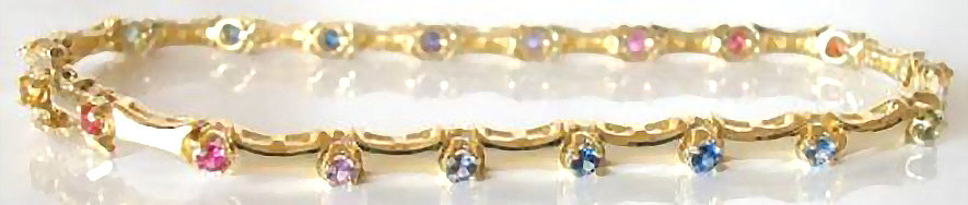 4.74CT SAPPHIRE QUOT;RAINBOWQUOT; BRACELET W/DIAMONDS IN 18KT W | EBAY