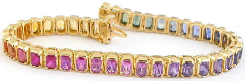 One of a Kind Radiant Cut Sapphire Bracelets in 14k yellow gold