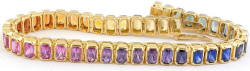 Natural Rare Radiant Cut Rainbow Sapphire Bracelets in 14k yellow gold