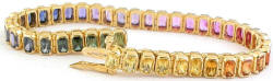 One of a Kind Radiant Cut Rainbow Sapphire Bracelets in 14k yellow gold