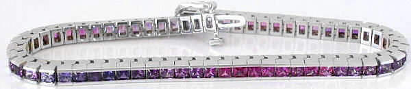 Shades of Princess Cut Pink and Purple Sapphire Bracelet in 14k