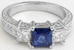 Princess Cut Blue Sapphire and Princess Cut Diamond Engagement Ring
