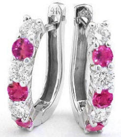 Pink Sapphire and Ideal Cut Diamond Hoop Earrings in 14k white gold