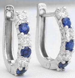 Sapphire and Ideal Cut Diamond Hoop Earrings in 14k white gold