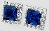 Ceylon Princess Cut Blue Sapphire and Diamond Earrings in white gold