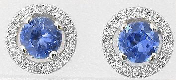 0.68 ctw Blue Sapphire and Diamond Earrings in 14k