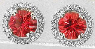 1.36 ctw Red-Orange Sapphire and Diamond Earrings in 14k white gold