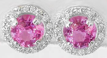Round Cut Pink Sapphire and Diamond Halo Earrings in 14k white gold