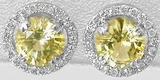 Round Yellow Sapphire and Diamond Earrings in 14k white gold