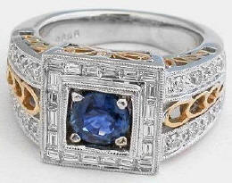 Bold 1.75ctw Round Blue Sapphire and Diamond Ring in 14k white and yellow gold
