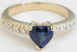 Blue Sapphire Heart and Diamond Ring in 14k yellow gold