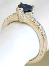 Heart Shape Blue Sapphire Heart and Diamond Engagement Ring in 14k yellow gold
