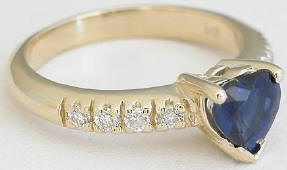 Natural Blue Sapphire Heart and Diamond Engagement Ring in 14k yellow gold