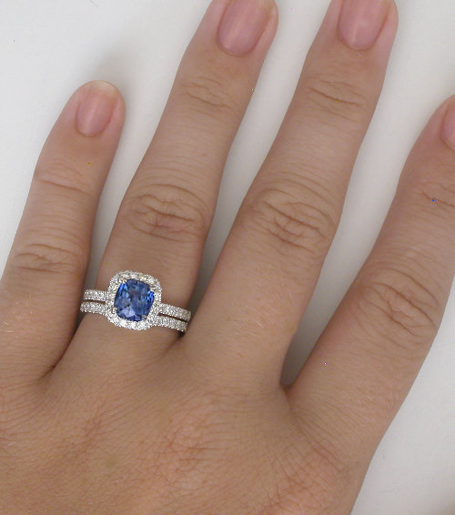 Cushion Ceylon Sapphire And Diamond Halo Engagement Ring With Matching Wedding Band In 14k White
