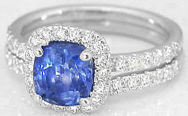 Cushion Ceylon Sapphire Engagement Ring