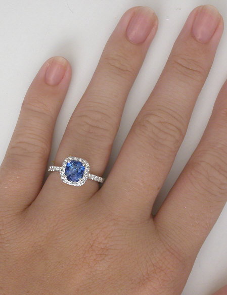 Natural Ceylon Sapphire in a Cushion Cut Surrounded by a ...