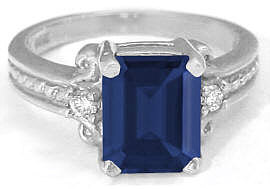 Emerald Cut Blue Sapphire and Diamond Engagement Ring in 14k