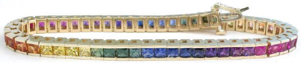11 carats Princess Cut Rainbow Sapphire Bracelets in 14k yellow gold
