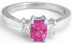 1.43 ctw Cushion Cut Pink Sapphire and Diamond Engagement Ring in 14k white gold