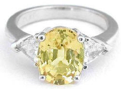 Three Stone Yellow and White Sapphire Engagement Ring