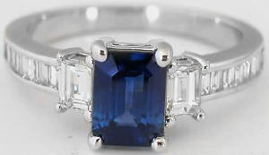 Emerald Cut Sapphire and Baguette Diamond Ring in 14k white gold