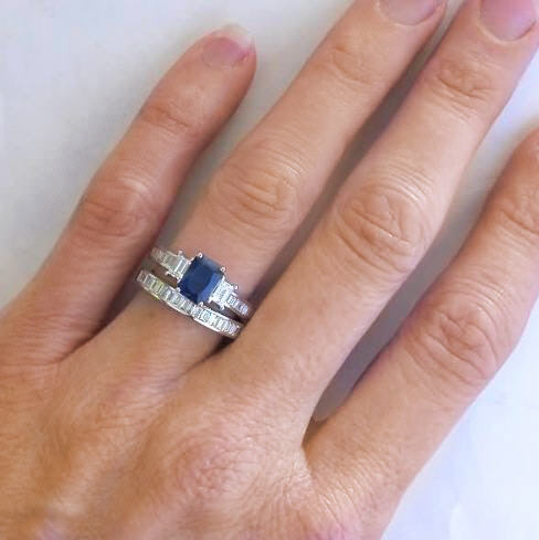 Emerald cut sapphire and baguette diamond engagement ring for Sapphire engagement ring and wedding band set