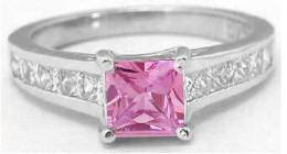 1.25 ctw Princess Cut Pink Sapphire and Diamond Ring in 14k white gold