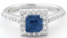 Princess Cut Blue Sapphire and Diamond Ring in 14k white gold