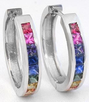Princess Cut Rainbow Sapphire Hoop Earrings in 14k white gold