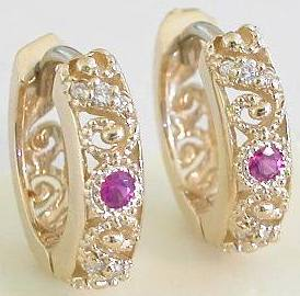 Pink Sapphire and Diamond Earrings in 14k yellow gold