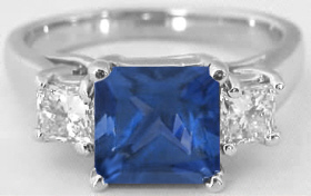 Princess Cut Blue Sapphire and White Sapphire Ring in 14k white gold