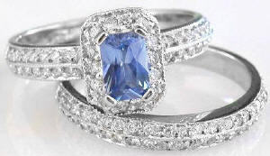 Blue Sapphire and Diamond Engagement Ring in 14k