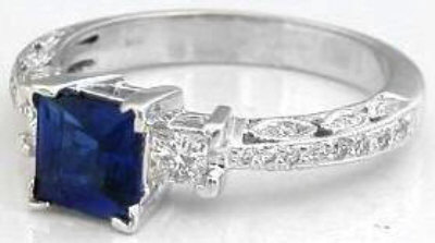 564bce7a1 Fine Princess Cut Sapphire and Princess Diamond Ring with Antique ...