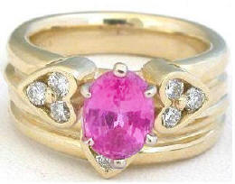2.34 ctw Pink Sapphire and Diamond Engagement Ring and Wedding Band  in 14k yellow gold