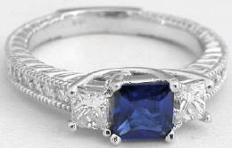 Princess Cut Blue Sapphire and Diamond Engagement Ring