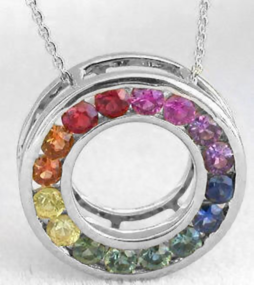 Rainbow sapphire circle pendants from myjewelrysource gp 5070 multicolor sapphire eternity pendants mozeypictures Image collections