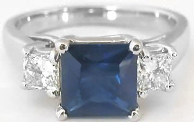 Princess Cut Blue Sapphire and White Sapphire Ring