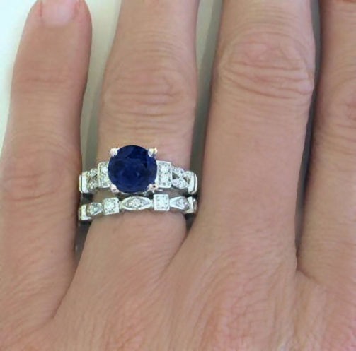 8mm Round Blue Sapphire and Diamond Engagement Ring in 14k white