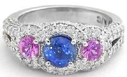 Round Blue and Pink Sapphire and Diamond Ring in 14k white gold