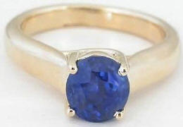 Oval Ceylon Blue Sapphire Solitaire Ring in 14k yellow gold