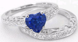 Heart Shape Blue Sapphire and Diamond Engagement Ring